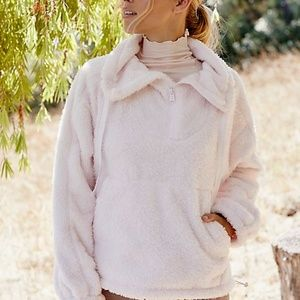 FREE PEOPLE Big Sky High Neck Nubby Fur Pullover